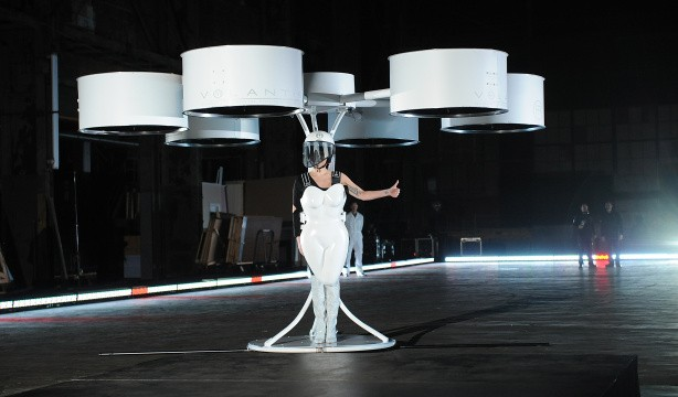 Lady Gaga reveals `flying dress` at album launch party
