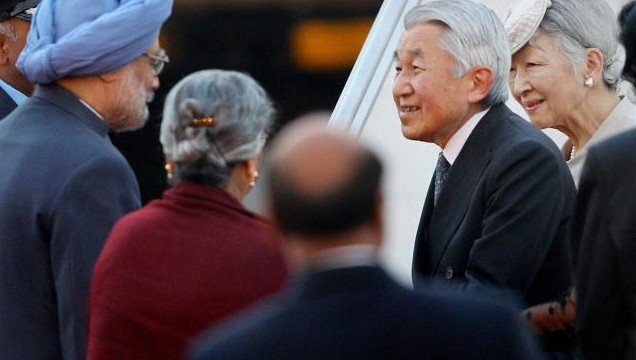 Manmohan receives Japan's royal couple