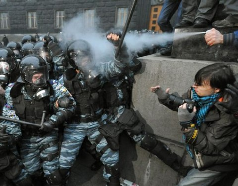 Police clash with protesters in Ukrainian capital