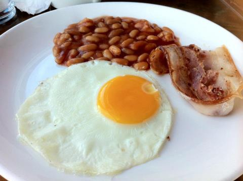 Now, `drink` your breakfast of bacon, baked beans, eggs, and sausages!