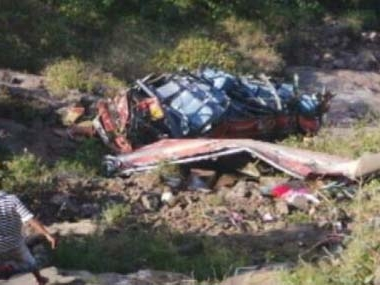 Five killed as bus plunges into valley
