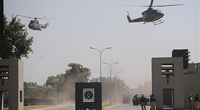 Pakistani military helicopters fly over