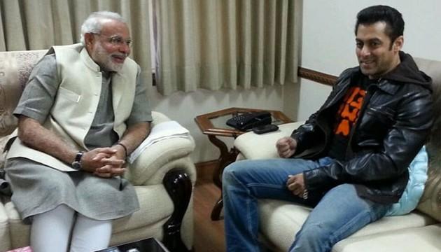 Bollywood actor Salman Khan met Gujarat Chief Minister Narendra Modi in Ahmedabad today.