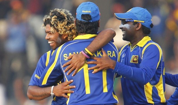Sri Lanka's Malinga celebrates after taking the wicket of Kenya's Otieno during their ICC Cricket World Cup group A match in Colombo