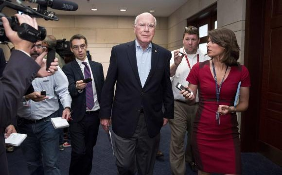 Leahy speaks to the media after attending a closed meeting for members of Congress on Syria in Washington