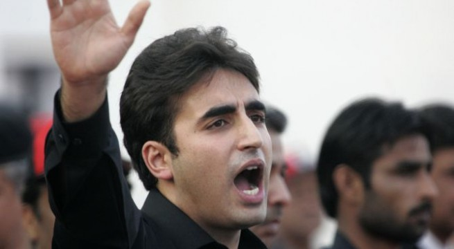 Bilawal Bhutto Zardari, son of assassinated former Pakistani prime minister Benazir Bhutto, makes a speech to launch his political career during the fifth anniversary of his mother's death, at the Bhutto family mausoleum in Garhi Khuda Bakhsh