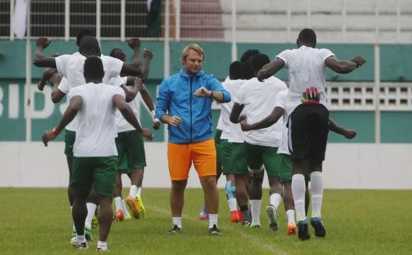 Sierra Leone's national soccer team players attend a training session at the Felix Houphouet Boigny stadium in Abidjan