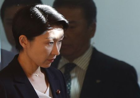 Japan's Economy, Trade and Industry Minister Yuko Obuchi arrives at Prime Minister Abe's official residence in Tokyo