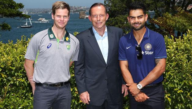 Australian-captain-Steve-Smith-Australian-Prime-Minister-Tony-Abbott-and-Indian-captain-Virat-Kohli-3