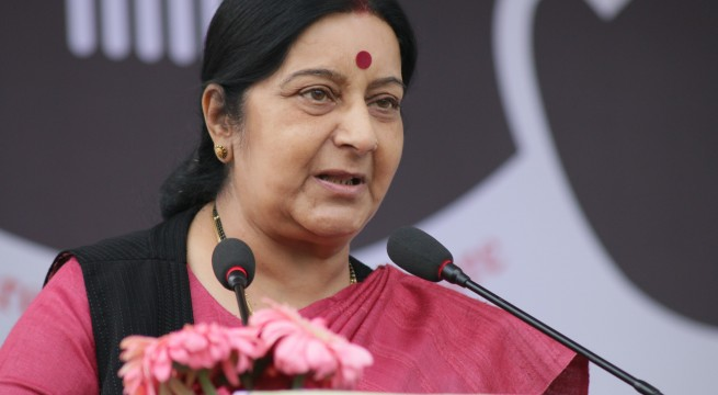 New Delhi: Union External Affairs Minister Sushma Swaraj during a programme organised on the culmination of Indio-Nepal Car Rally at India Gate in New Delhi, on March 8, 2015. (Photo: Sunil Majumdar/IANS)