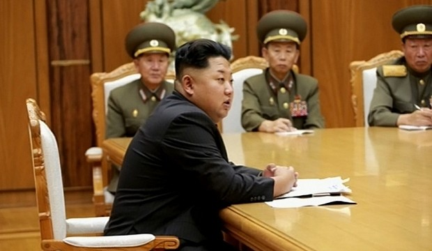 This screen grab taken from North Korean TV and released by South Korea's news agency Yonhap on August 21, 2015 shows North Korean leader Kim Jong-Un (front) during an emergency meeting of the powerful Central Military Commission on August 20, 2015. North Korean leader Kim Jong-Un ordered his frontline troops onto a war-footing from on August 21, as military tensions with South Korea soared following a rare exchange of artillery shells across their heavily fortified border.    REPUBLIC OF KOREA OUT -- NO ARCHIVES -- NO INTERNET -- RESTRICTED TO SUBSCRIPTION USE  --  AFP PHOTO / NORTH KOREAN TV via YONHAP  -- NO MARKETING - NO ADVERTISING CAMPAIGNS - DISTRIBUTED AS A SERVICE TO CLIENTS -- THIS PICTURE WAS MADE AVAILABLE BY A THIRD PARTY. AFP CAN NOT INDEPENDENTLY VERIFY THE AUTHENTICITY, LOCATION, DATE AND CONTENT OF THIS IMAGE. THIS PHOTO IS DISTRIBUTED EXACTLY AS RECEIVED BY AFP.YONHAP/AFP/Getty Images